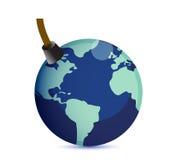 Aarde bij het concept van de risicoboom. Stock Foto