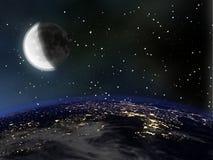 Aarde bij nacht met Maan en sterren Stock Foto