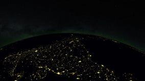 Aarde bij nacht met ruimteachtergrond, vector illustratie
