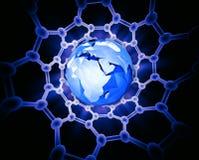 Aarde binnen een koolstof nanotube Royalty-vrije Stock Foto's