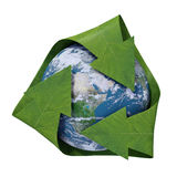 Aarde binnen een recyclingssymbool Stock Foto