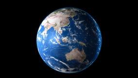 Aarde blauwe die planeet op zwarte achtergrond wordt geïsoleerd 3d geef terug royalty-vrije illustratie