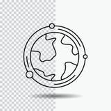 aarde, bol, wereld, aardrijkskunde, het Pictogram van de ontdekkingslijn op Transparante Achtergrond Zwarte pictogram vectorillus stock illustratie