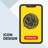 aarde, bol, wereld, aardrijkskunde, het Pictogram van ontdekkingsglyph in Mobiel voor Downloadpagina Gele achtergrond vector illustratie