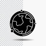 aarde, bol, wereld, aardrijkskunde, het Pictogram van ontdekkingsglyph op Transparante Achtergrond Zwart pictogram royalty-vrije illustratie