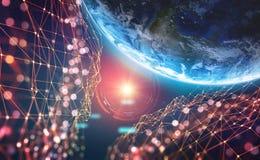 Aarde in de era van digitale technologie Globale communicatienetwerken van toekomst Het systeem van de gegevensopslag 3D illustra vector illustratie