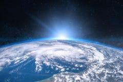 Aarde in de ruimte Blauwe zonsopgang stock afbeeldingen