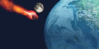 Aarde die door Asteroïde wordt geraakt Stock Fotografie
