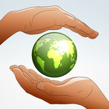 Aarde die door handen wordt gesteund stock illustratie