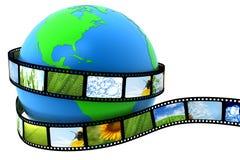 Aarde die in film wordt verpakt Stock Foto