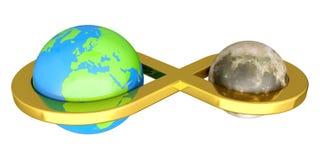 Aarde die met Maan wordt verbonden Stock Afbeelding