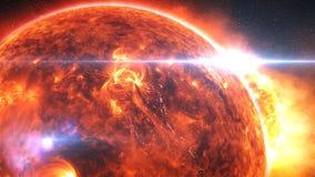 Aarde die of na een globale ramp, apocalyptisch scenario branden exploderen royalty-vrije illustratie