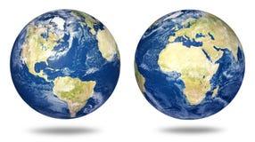 Aarde die op wit wordt geplaatst Stock Fotografie