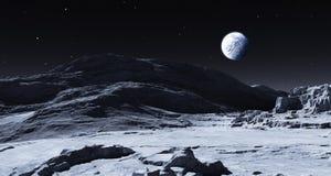 Aarde die over de Maan toenemen stock illustratie