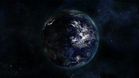 Aarde die terwijl de veranderende dag en unlighted aanstak draaien vector illustratie