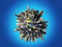 Aarde die totaal door reusachtige wolkenkrabbers wordt behandeld. Stock Foto