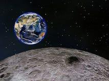 Aarde die van de Maan wordt gezien Stock Afbeeldingen