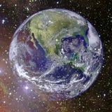 Aarde in diepe ruimte Elementen van dit die beeld door NASA wordt geleverd stock foto