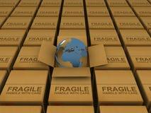 Aarde in doos Stock Foto's