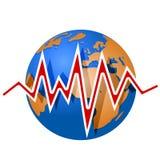 Aarde en aardbevingslijnen Stock Foto