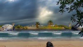 Aarde en bewolkte hemel over Zeewater royalty-vrije illustratie