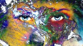 Aarde en blauw menselijk oog met violette en roze dagmake-up stock illustratie
