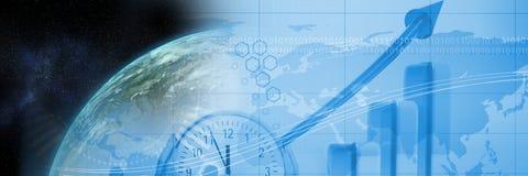 Aarde en de blauwe overgang van de financiëngrafiek Royalty-vrije Stock Afbeelding
