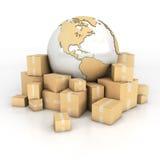 Aarde en dozen in kartontextuur Stock Fotografie