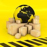 Aarde en dozen in zwarte en geel Stock Afbeeldingen