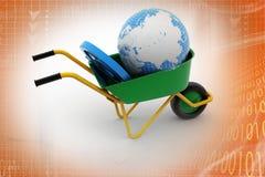 Aarde en e-mailteken Royalty-vrije Stock Afbeeldingen