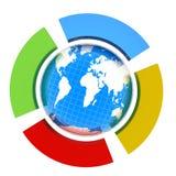 Aarde en halve cirkel vier. Het concept vier-tijd seizoen (het winter-blauw, springt groen op, zomer-rood, geel-utumn) vector illustratie