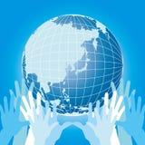 Aarde en hand Royalty-vrije Stock Afbeelding