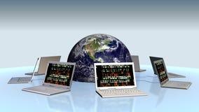 Aarde en laptops met random numbers op het scherm, voorraadlengte