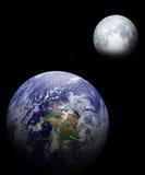 Aarde en maan Stock Foto's