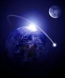 Aarde en maan royalty-vrije illustratie