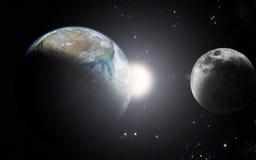 Aarde en maan Royalty-vrije Stock Foto