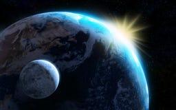 Aarde en maan Stock Fotografie