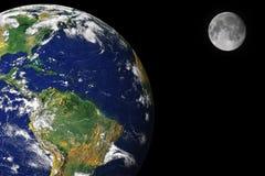 Aarde en maan Royalty-vrije Stock Foto's