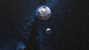 Aarde en Maan die en in open plek roteren spinnen vector illustratie