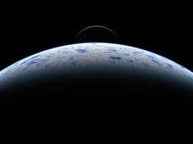 Aarde en maan die van ruimte wordt gezien Royalty-vrije Stock Foto