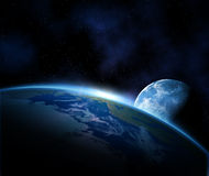 Aarde en maan in ruimte Stock Foto