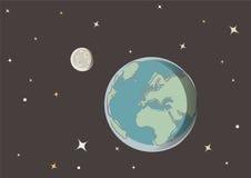 Aarde en maan in ruimte Stock Afbeelding