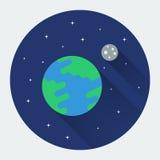 Aarde en maan in ruimte Royalty-vrije Stock Foto's