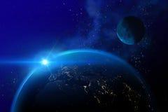 Aarde en maan zoals die van ruimte wordt gezien Stock Foto's