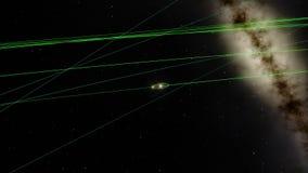 Aarde en Maandiagram die rond de Zon draaien vector illustratie