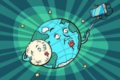 Aarde en Maanpaar die selfie op telefoon nemen vector illustratie