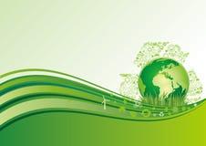 aarde en milieupictogram, groene achtergrond Royalty-vrije Stock Afbeeldingen