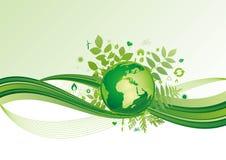 aarde en milieupictogram, groene achtergrond Royalty-vrije Stock Foto