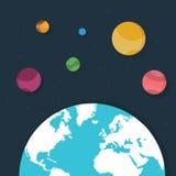 Aarde en planeten in ruimte Stock Afbeelding