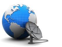 Aarde en radio-antenne Stock Afbeeldingen